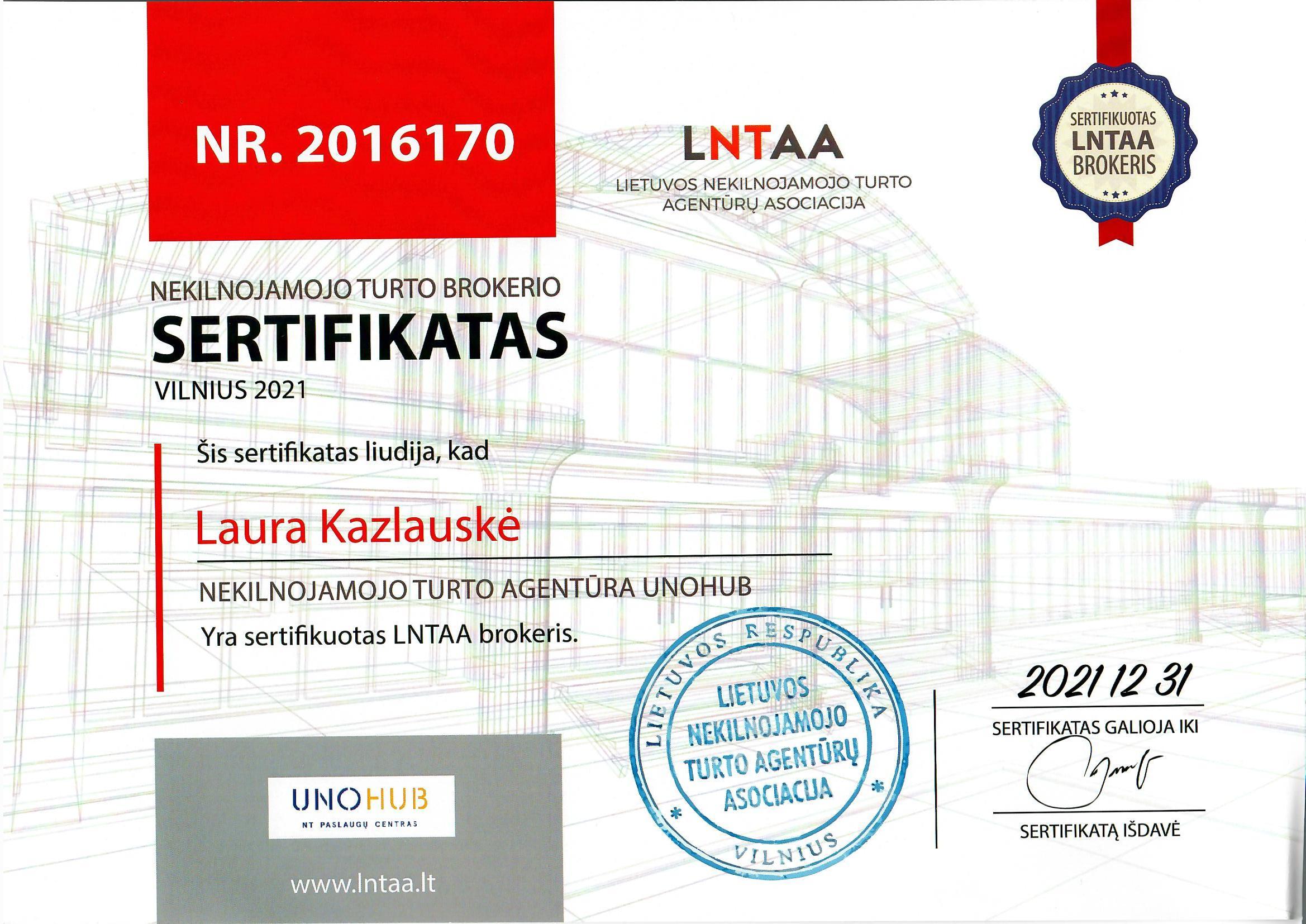LNTAA sertifikatas Laura Kazlauskė UNOHUB